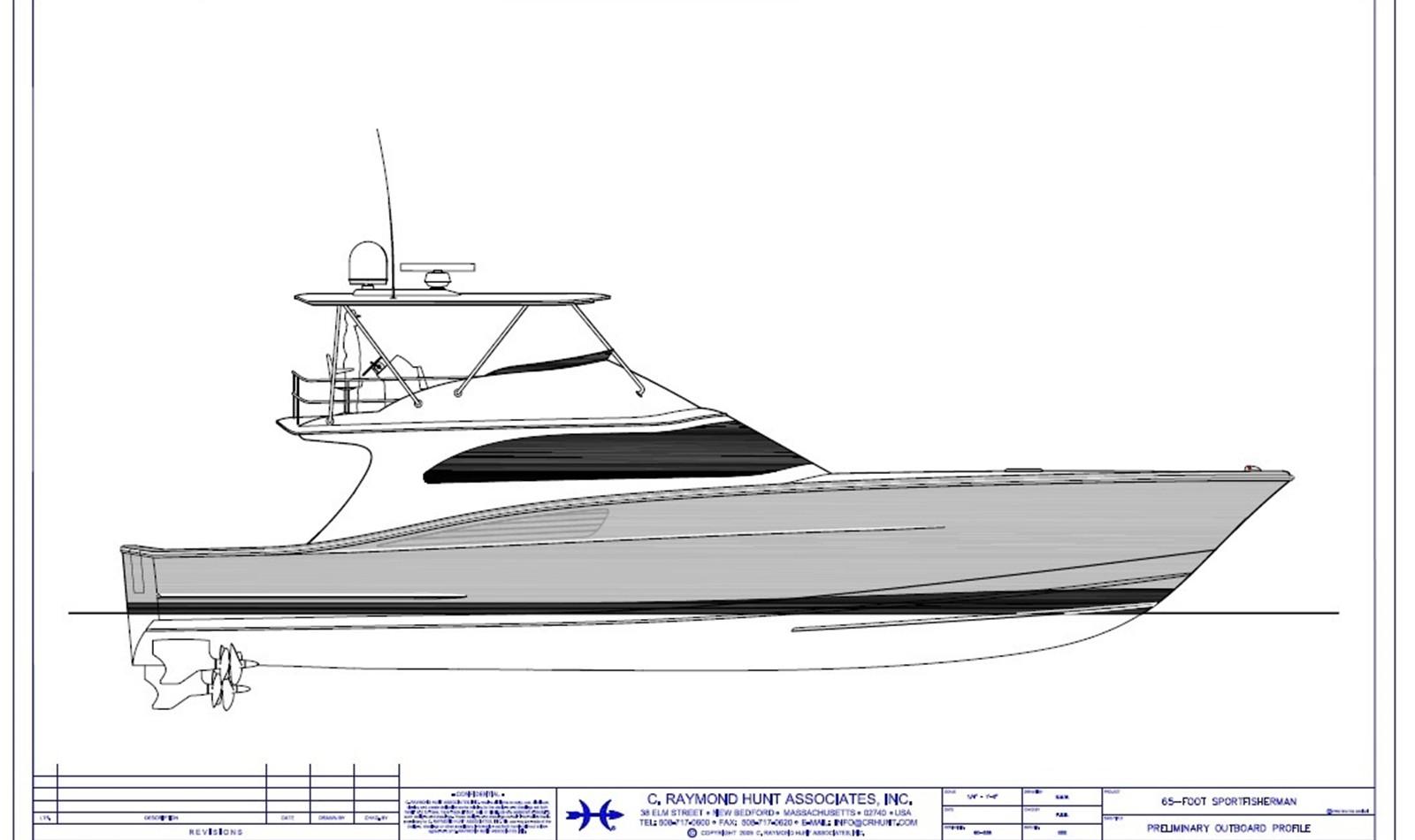 Custom Yacht Design - 65 ft. Custom Sportfish - C. Raymond Hunt Associates